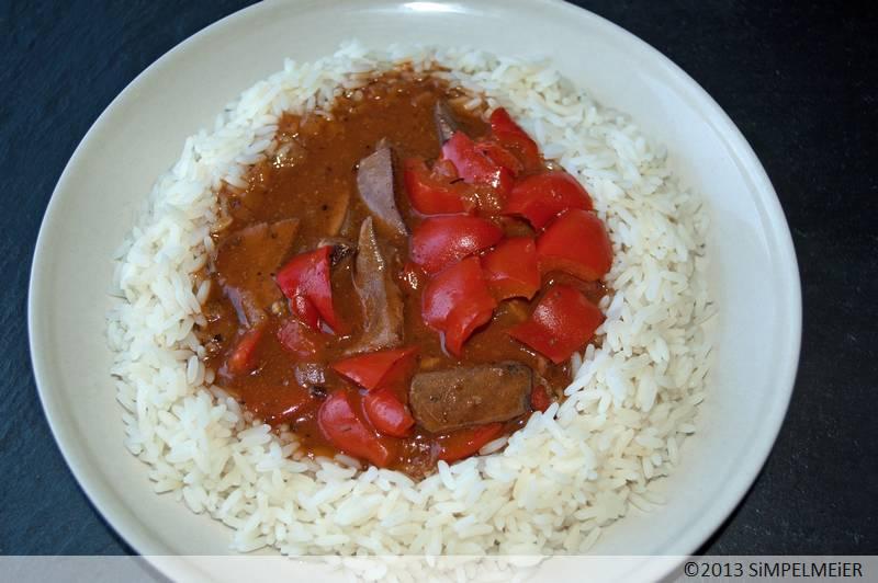 Scharfes Lebergulasch mit Paprika 1